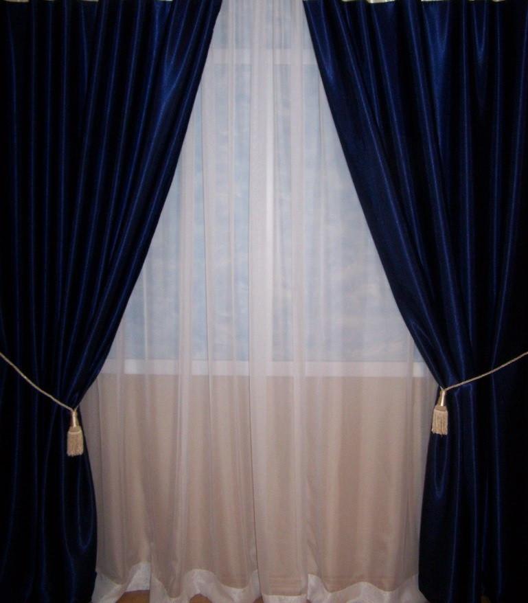 Шторы портьерные Шанзелизе Синий (2 шторы)