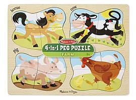 Melissa & Doug деревянный пазл ферма 4-in-1 Peg Puzzle - Farm