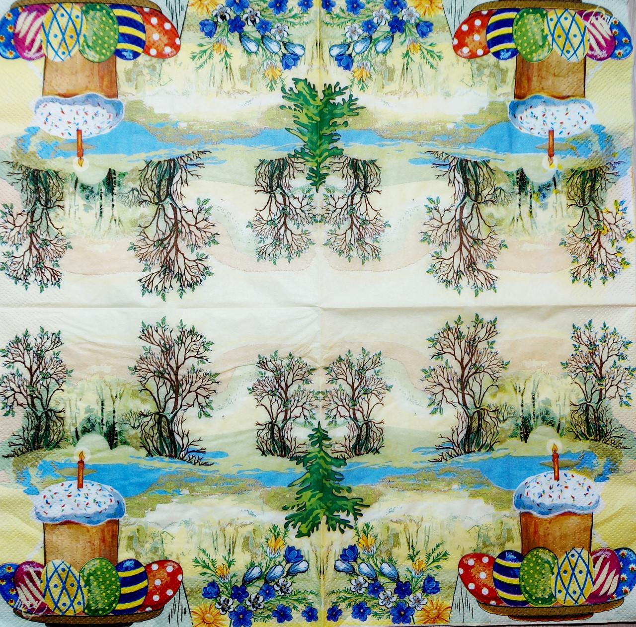 """Салфетка декупажная 33x33см 9 """"Пасха в лесу"""" - магазин-студия Цацки в Чернигове"""