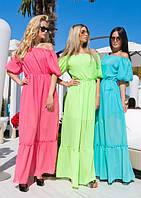 Шифоновое однотонное длинное платье
