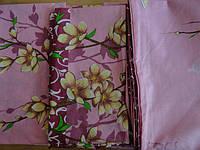 Розовый двуспальный комплект постели бязь с цветочным принтом