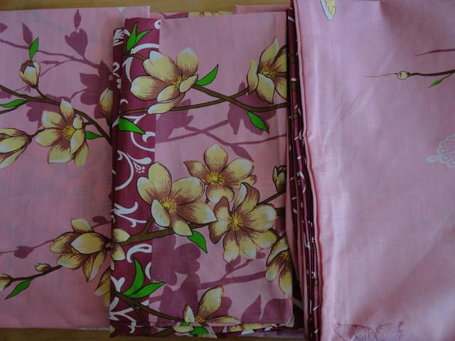 Розовый двуспальный комплект постели бязь с цветочным принтом - Оптом-дешевле в Хмельницком