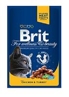 Брит премиум - влажный корм для  кошек  с курицей и индейкой, 100гр
