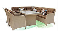 Комфортная мебель для террасы из искусственного ротанга Адель: стол, кресло (2 шт.), два дивана