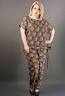 КОСТЮМ АЛМА (КОРИЧНЕВЫЙ АЖУР), легкий летний из штапеля, свободные брюки и блуза, большие размеры 54-60, батал