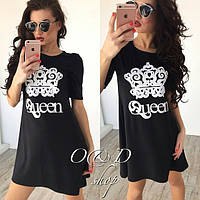 Модное чёрное платье с принтом, короткий рукав. Арт-5411/55