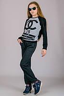 Спортивные брюки подростковые однотонные темно-серые, фото 1