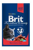 Влажный корм для кошек Брит премиум с тушеной говядиной и горохом, 100гр