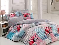 Двуспальный двусторонний евро комплект постельного белья Cotton Box Rita Pembe,ранфорс, Турция