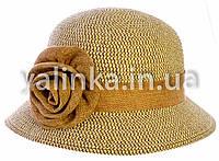 """Шляпа летняя """"Розочка"""" темно-бежевая"""