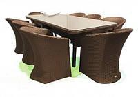 Практичная уличная мебель из искусственного ротанга Тоскана: 8 кресел, стол, цвет коричневый