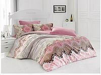 Двуспальный двусторонний евро комплект постельного белья Cotton Box Lida Bej, ранфорс, Турция