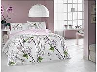 Двуспальный двусторонний евро комплект постельного белья Cotton Box Pamela Pembe, ранфорс, Турция
