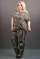 КОСТЮМ АЛМА (ЗЕЛЕНЫЙ АЖУР), легкий летний из штапеля, свободные брюки и блуза, большие размеры 54-60, батал