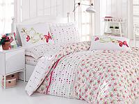 Двуспальный двусторонний евро комплект постельного белья Cotton Box Nadya Pembe, ранфорс, Турция,