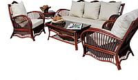 Натуральная мебель для террасы из ротанга Pacific: 2 кресла, 2 стола, диван, съемные пуфы и подушки