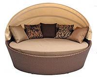 Шикарная мебель из искусственного ротанга софа Гавана с накрытием: 180х140х126 см, 5 подушек