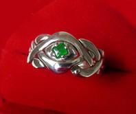 Серебреное кольцо с зеленым нефритом от Wickerring