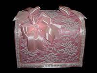 """Сундучок для денег """"Кружевной"""" розовый 5591"""