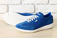 Синие кроссовки Lacoste,  замша и текстиль