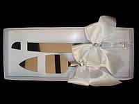 Нож с лопаткой свадебный Бежевый бант