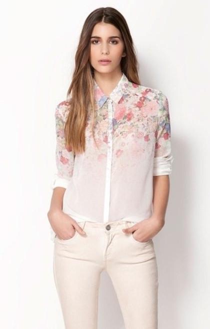 9d48274e233 Рубашка (блузка) женская белая в цветочек недорого модная весна 2016 -  Verona24 в Киевской