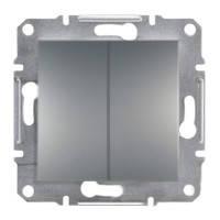Выключатель двухклавишный   Schneider Electric Asfora сталь