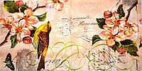"""Салфетка для декупажа """"Птица на ветке цветущей вишни"""", размер 33*33 см, трехслойная"""
