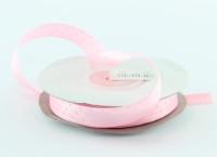 Лента атлас 1,2 см нежно-розовая в горошек