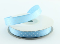 Лента атлас 1,2 см нежно-голубая в горошек