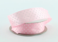 Лента атлас 2,5 см нежно-розовая в горошек