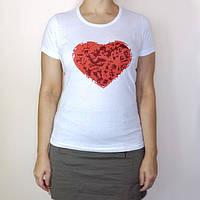 Футболка женская красное сердце, 100% хлопок, размер 48