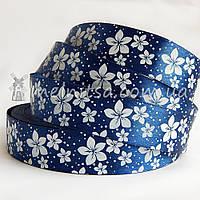 Атласная лента 2,5 см цветы, синий