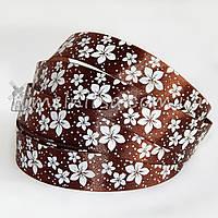 Атласная лента 2,5 см цветы, коричневый