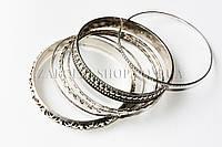 Браслет металлический под серебро ажурный, 12 наборов в упаковке(на фото 1 набор)
