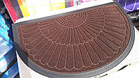 Коврик резиновый коричневый велюр (полукруг), размер 75 х 45, производство Китай