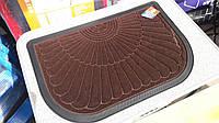 Коврик резиновый коричневый велюр (полукквадрат), 60 х 40, производство Китай