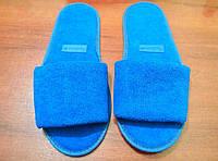 Тапочки махровые синие с вставкой