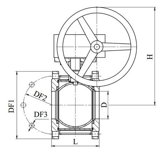 Кран шаровый стальной 11с342п Ду 200/150