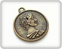 Подвеска металлическая, Старинная монета, 23х2мм