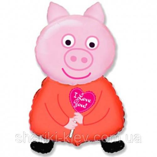 Шарик Фольгированный Большой Свинка Пеппа на День рождения в стиле Свинка Пеппа