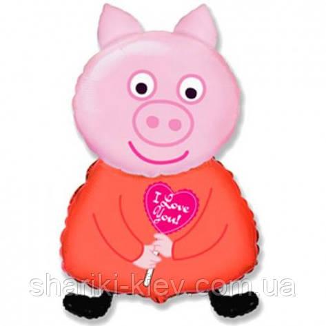 Шарик Фольгированный Большой Свинка Пеппа на День рождения в стиле Свинка Пеппа, фото 2