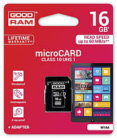 Карта памяти microSD GOODRAM 16GB Class 10 UHS I + adapter