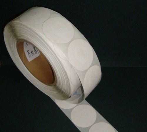 Защитная этикетка круглая, (1000шт). штрих-код, белая, черная