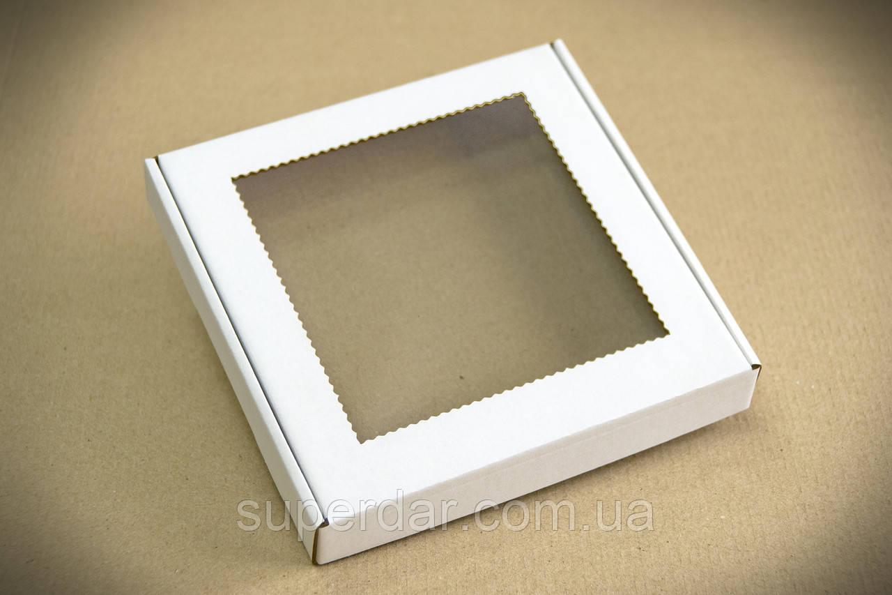 Коробка для печенья и пряников с прозрачным окном, 200х200х30 мм, белая