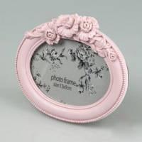 Овальная розовая фоторамка керамическая в винтажном стиле