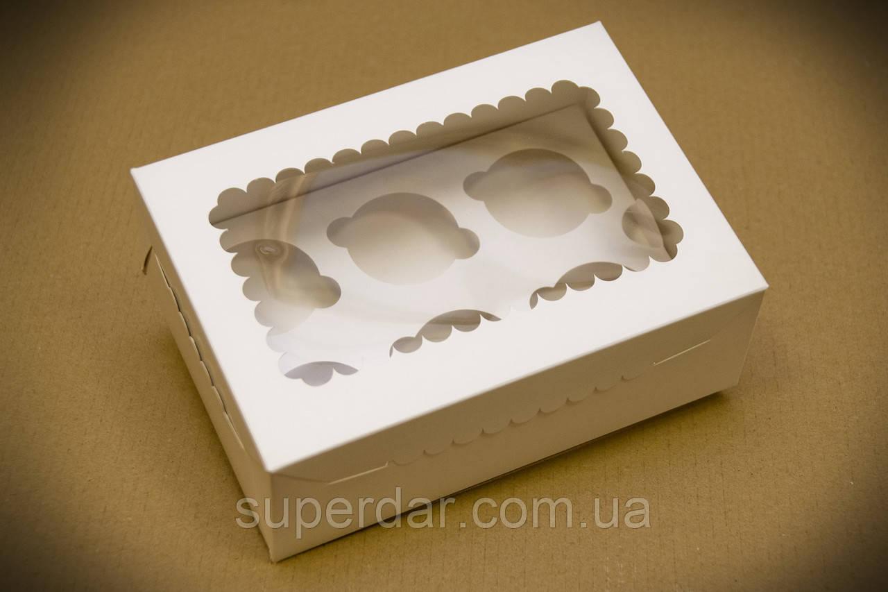 Коробка для 6 кексов, капкейков, маффинов с прозрачным окном.,255х180х90 мм, белая