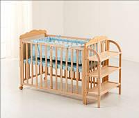 Детская кроватка Колыбель, сосна, откидная боковина, полочки