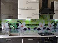 Кухонная панель из стекла. Орхидеи. Стекло с цветной печатью. Доставка. Установка. Днепр. Под заказ. Скинали