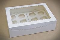 Коробка для 12 кексов, капкейков, маффинов с прозрачным окном, 355х250х100 мм, белая
